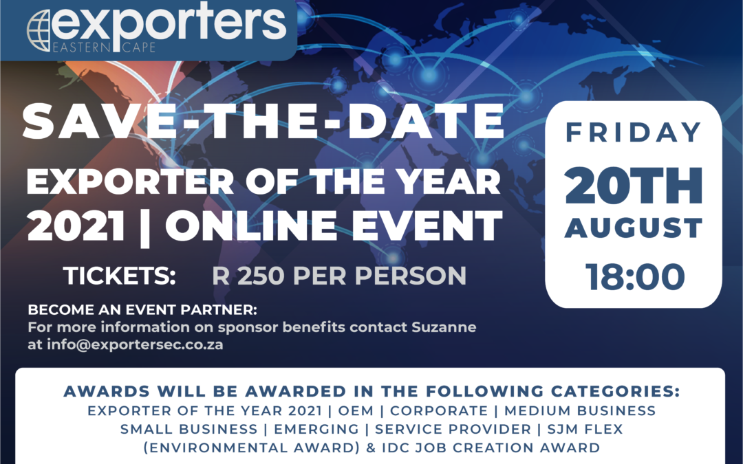 TICKETS AVAILABLE: Exporter of the Year 2021 Online Awards Event